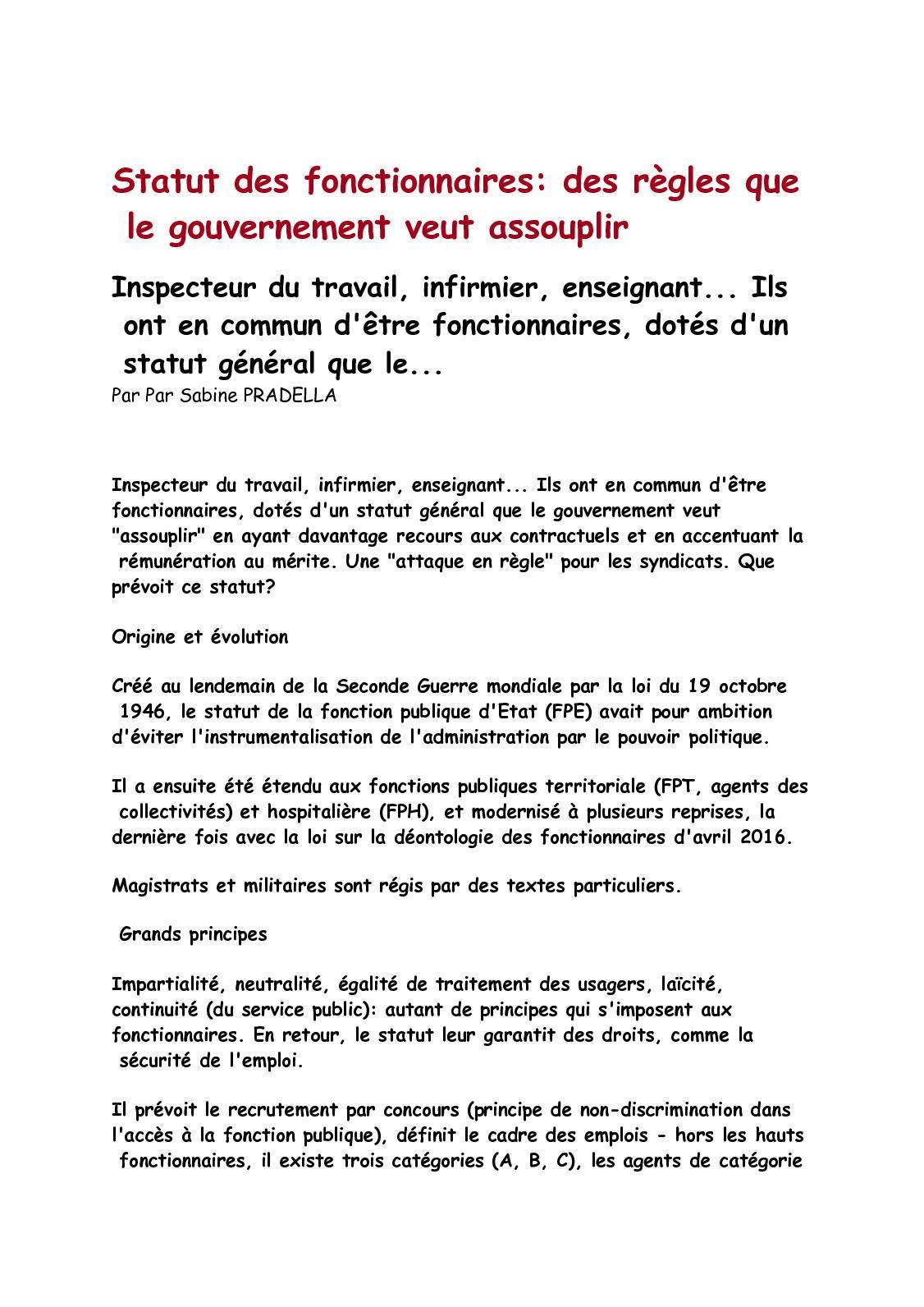 a753987c237 Calaméo - Statut Des Fonctionnaires Des Règles Que Le Gouvernement Veut  Assouplir