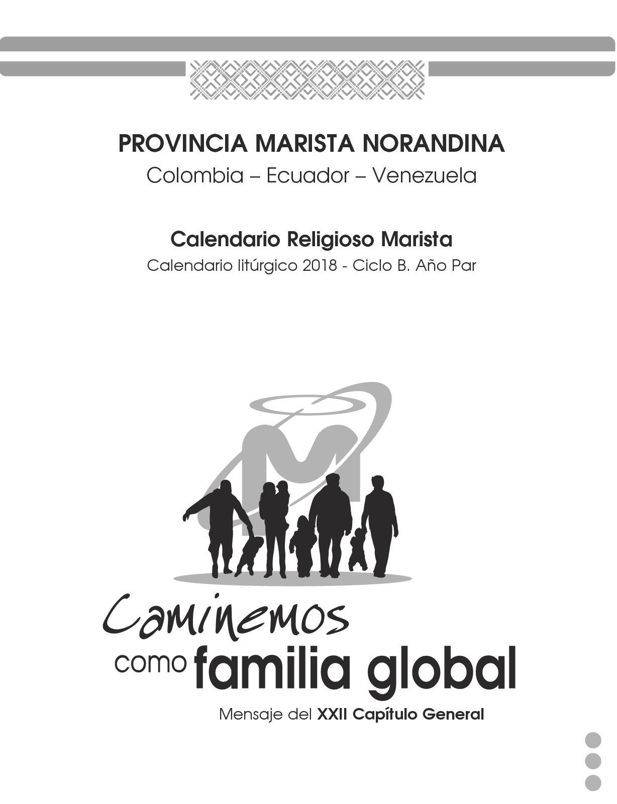 Calendario Religioso.Calendario Religioso Provincia Norandina 2o Trimestre 2018