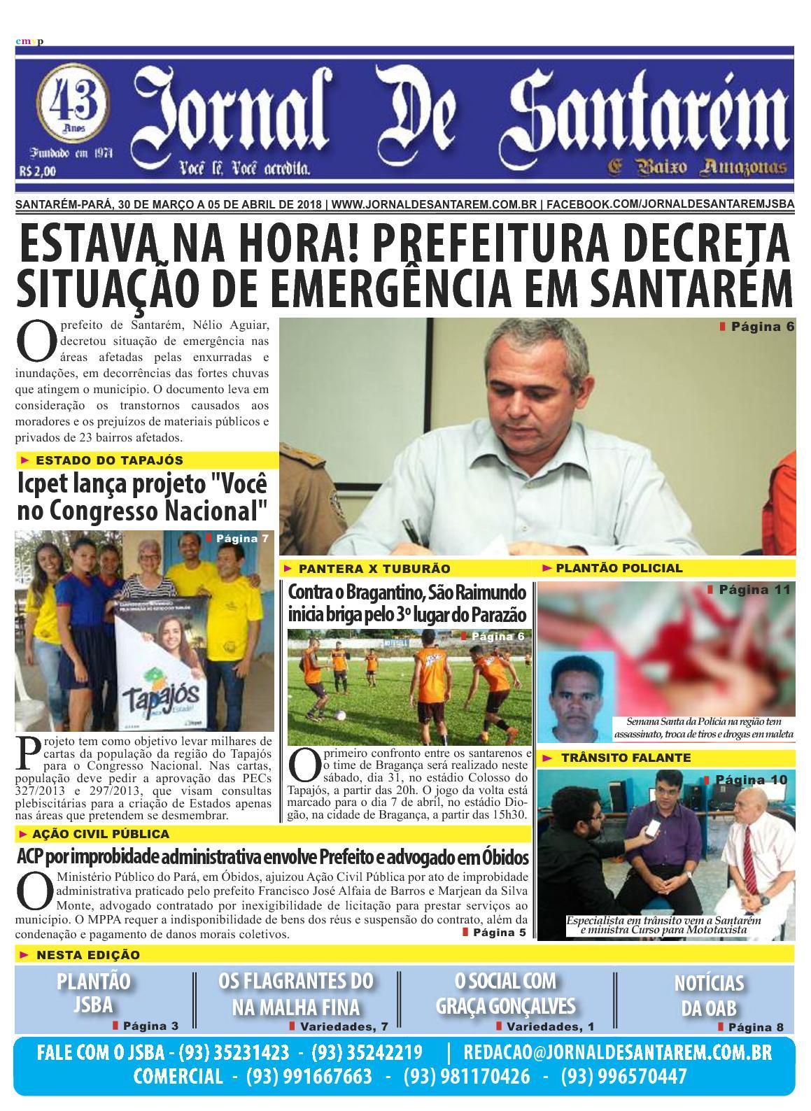 a5b11f7bdd Calaméo - JORNAL DE SANTARÉM E BAIXO AMAZONAS EDIÇÃO DE 30 DE MARÇO A 05 DE  ABRIL DE 2018