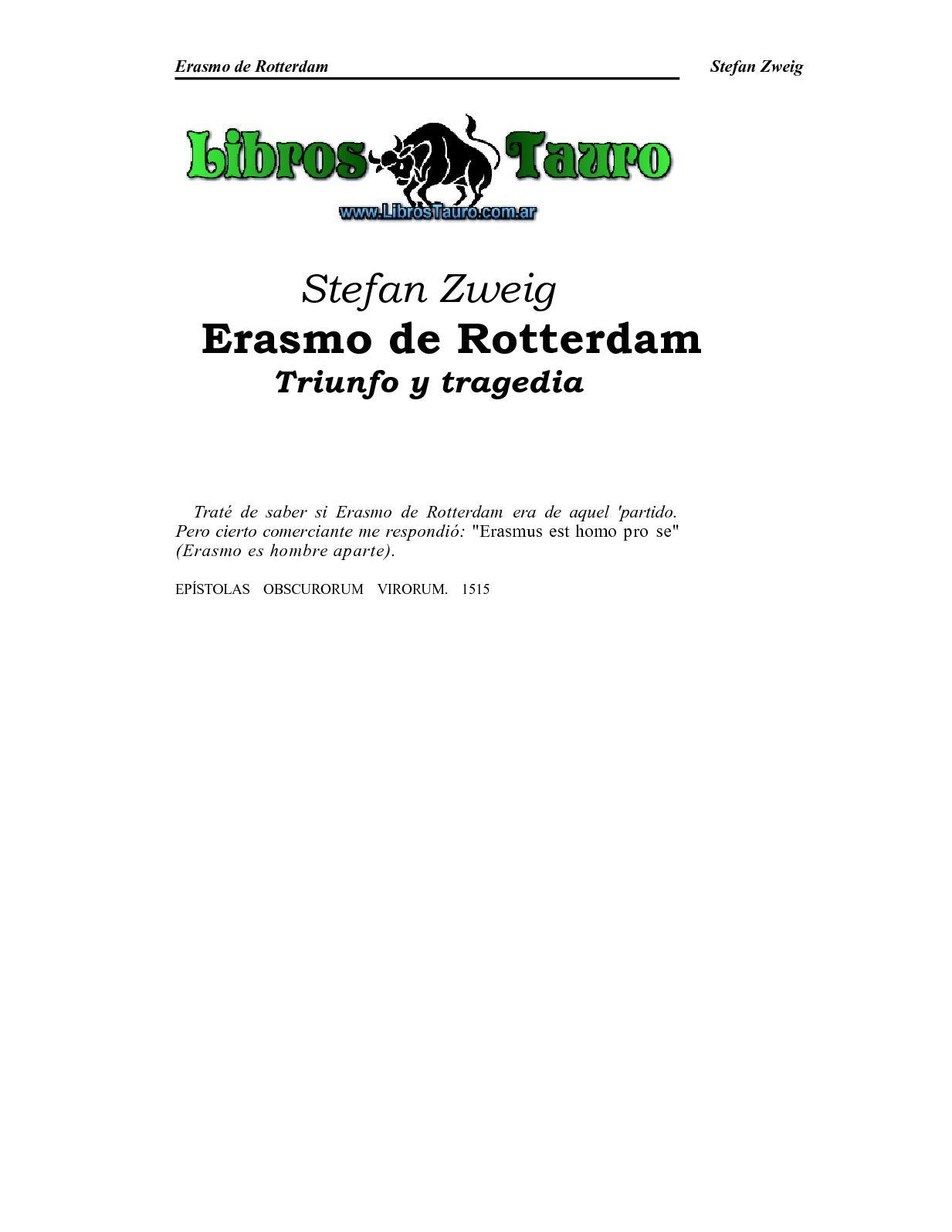 RotterdamTriunfo Erasmo Y Calaméo ZweigStefan De Tragedia oreBxdCW