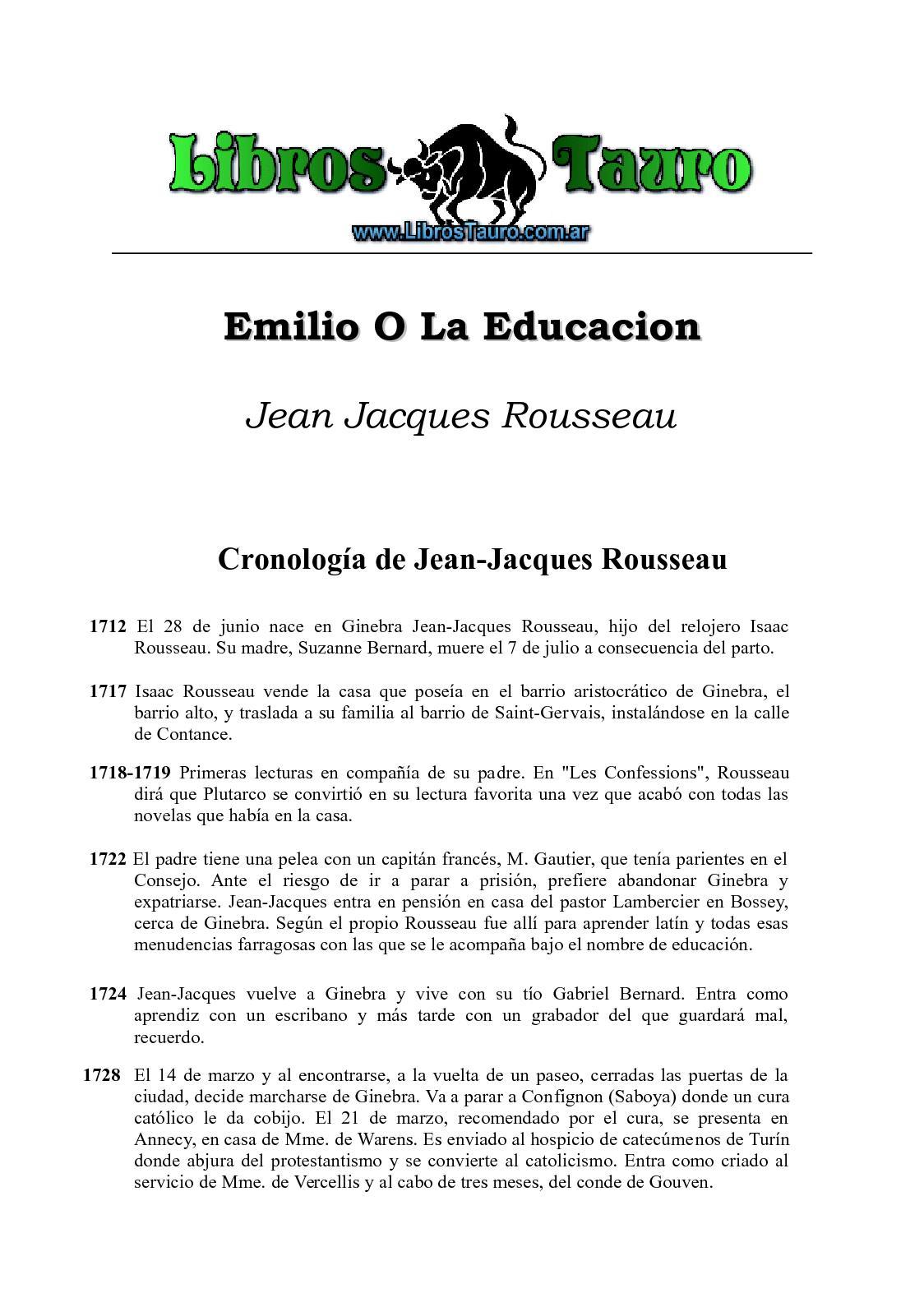 Calaméo Rousseau Jean Jacques Emilio O La Educacion