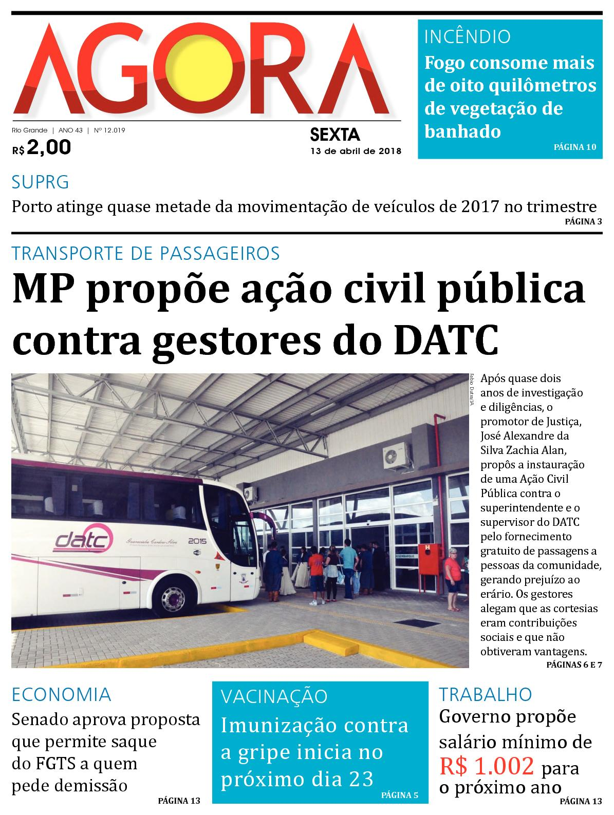 a2d5c9eef5a06 Calaméo - Jornal Agora - Edição 12019 - 13 de Abril de 2018