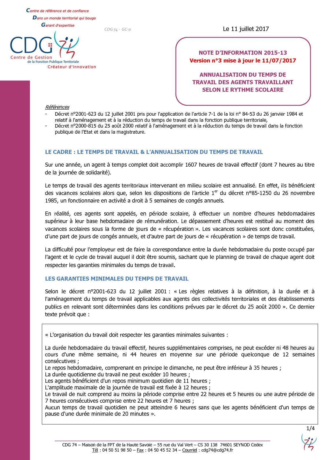 Calameo Cdg 74note Info 2015 13 Temps De Travail Annualise Annee