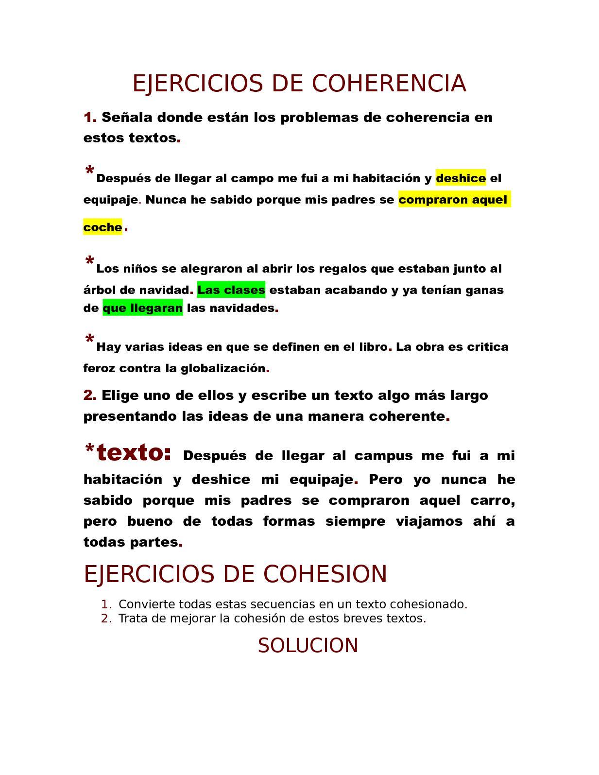 Calaméo Ejercicios De Coherencia
