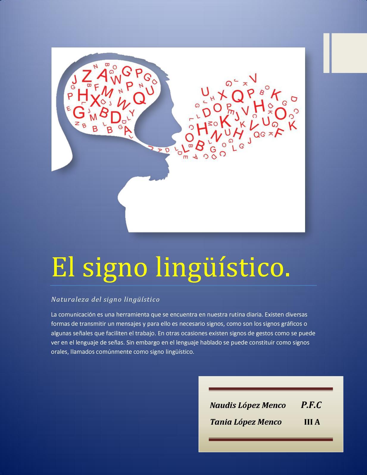 El Signo Lingüístico (Tania Y Naudis López) 1