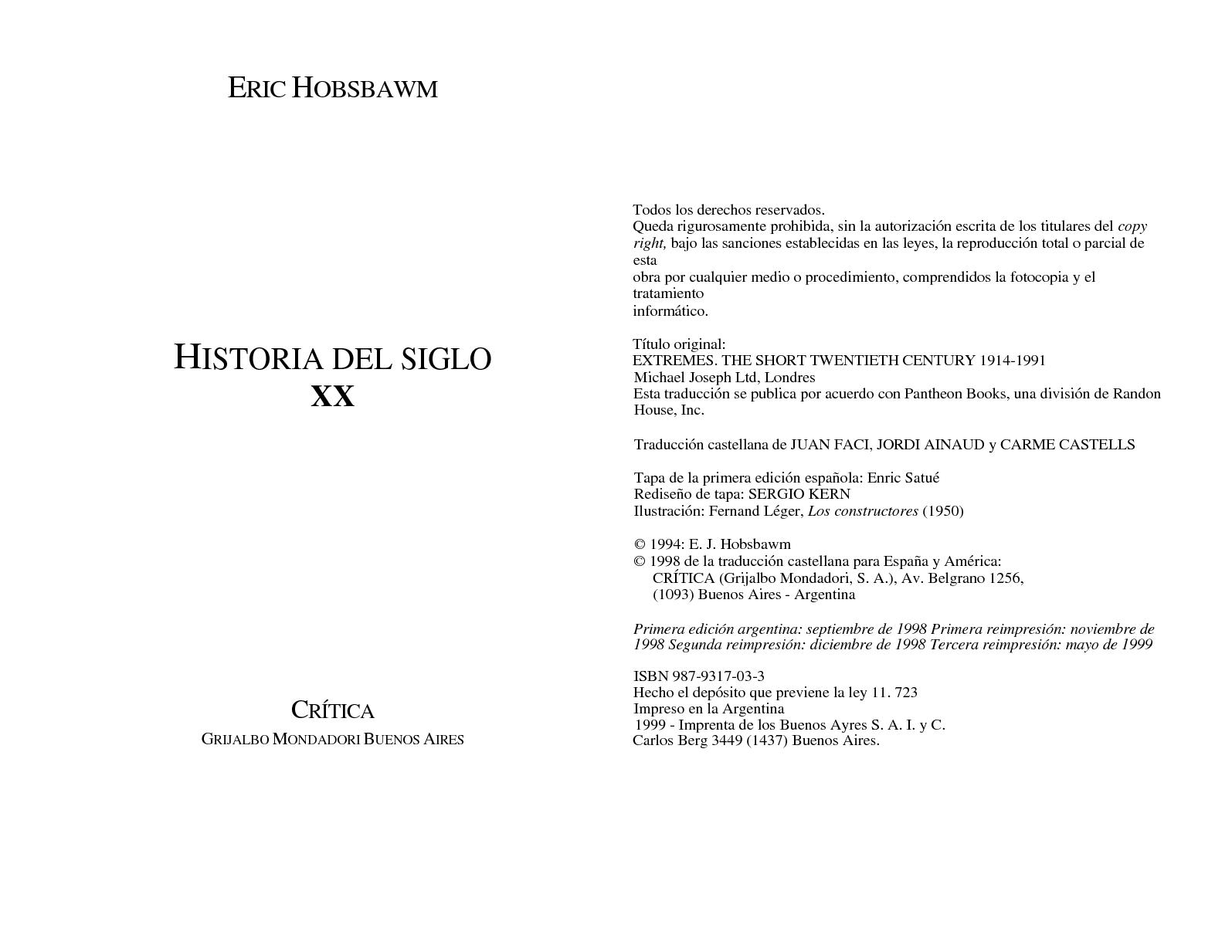 Xx Hobsbawn Del Siglo Historia Calaméo RjSq354cLA
