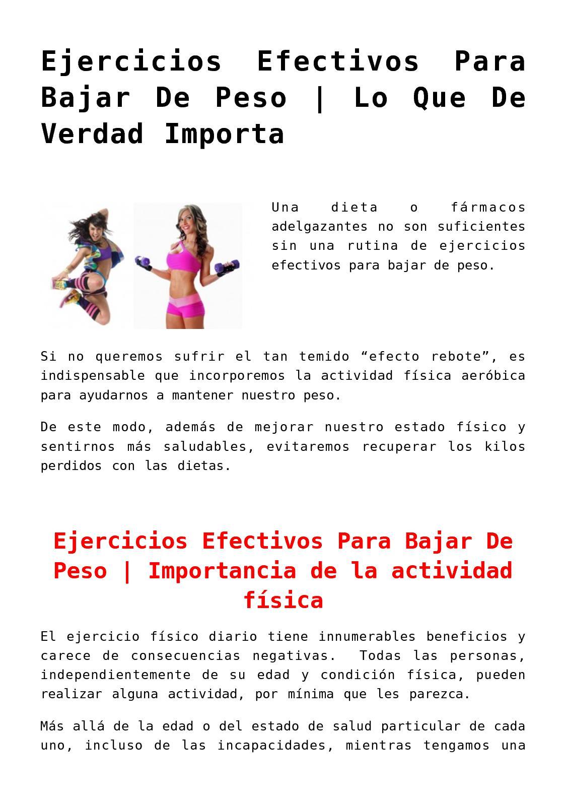 Ejercicios mas eficaces para bajar de peso
