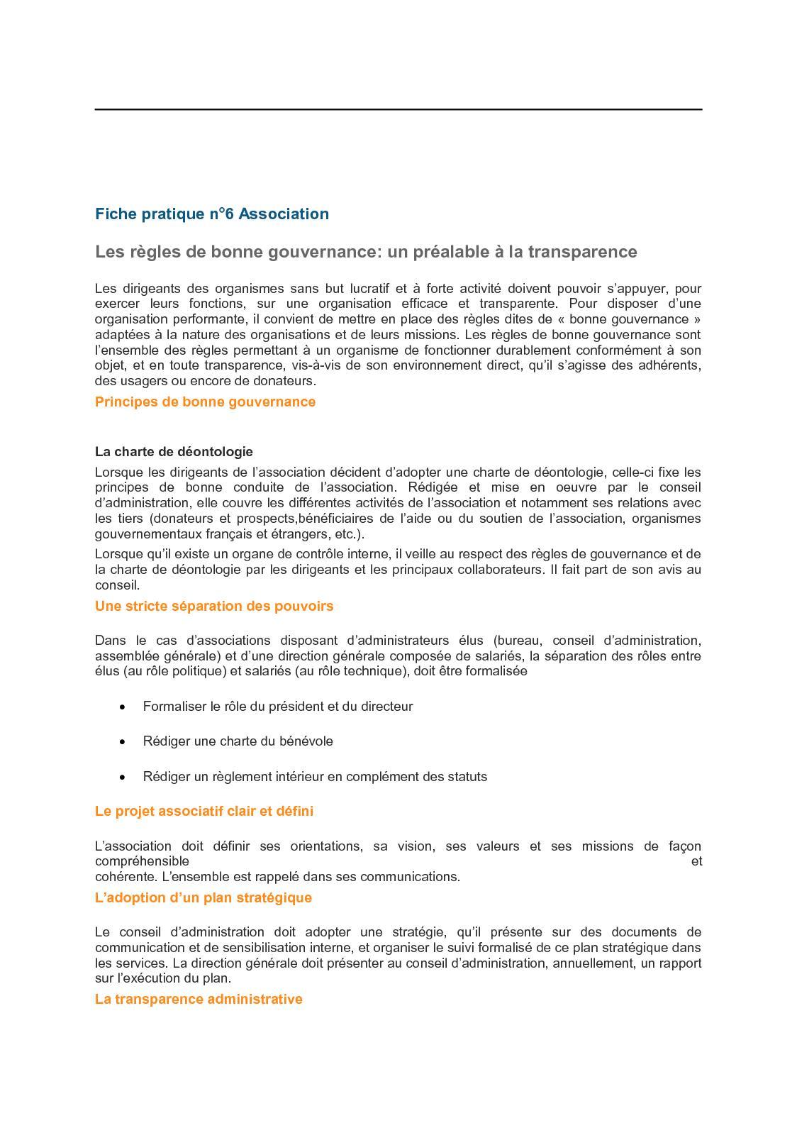 Calameo Fiche Pratique N 6 Bonne Gouvernance Association