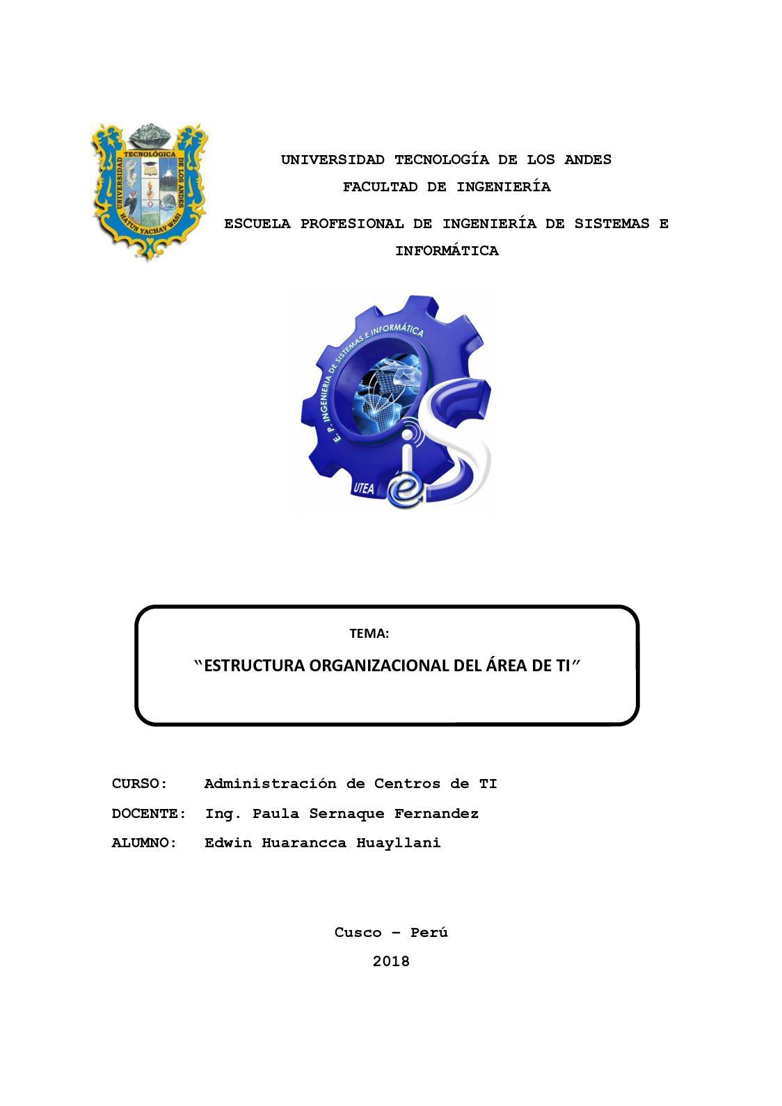 Calaméo Informe Estructura Organizacional Edwin Huarancca