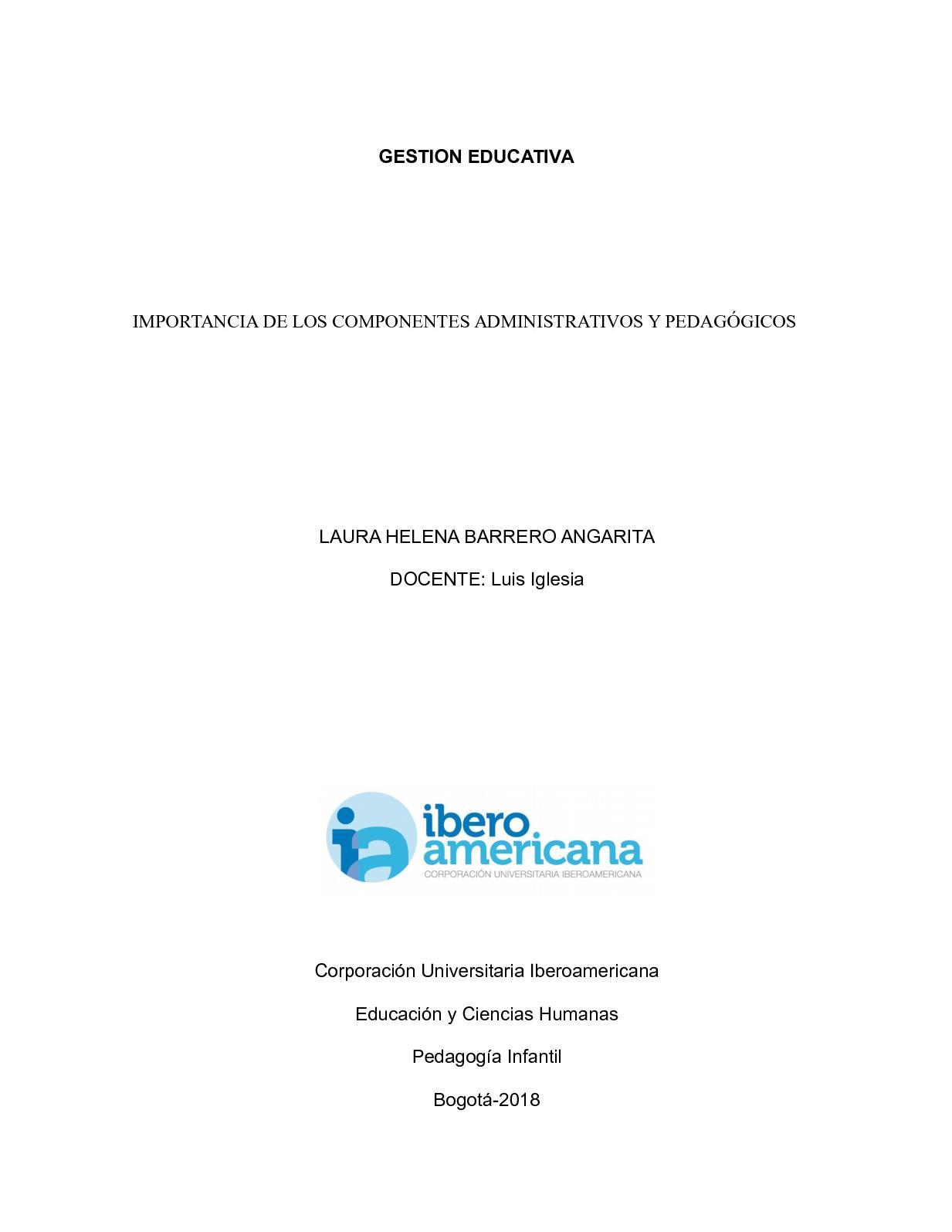 Componentes Administrativo Y Pedagogico