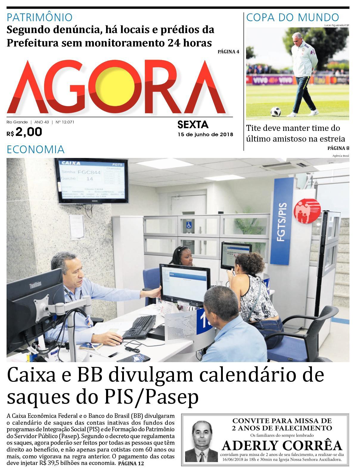 98800b4b804bc Calaméo - Jornal Agora - Edição 12071 - 15 de Junho de 2018