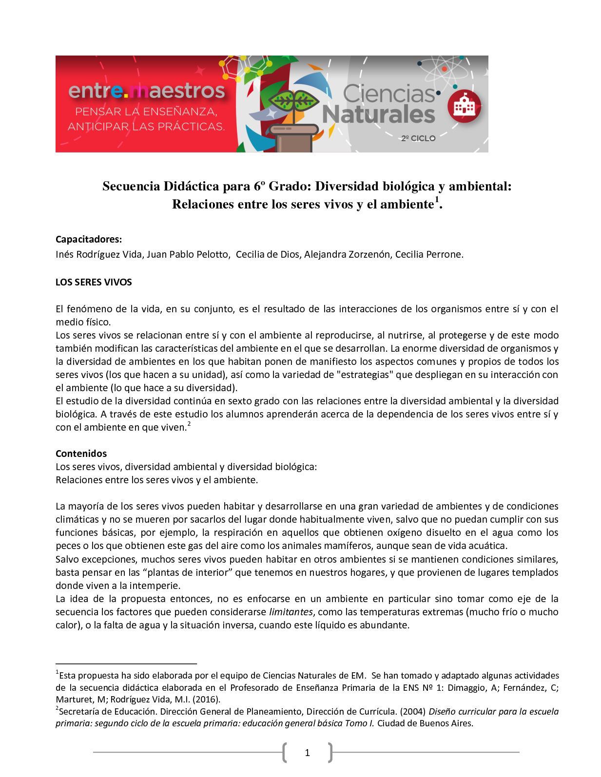 6º Secuencia Didáctica Em Diversidad Ambiental 2018