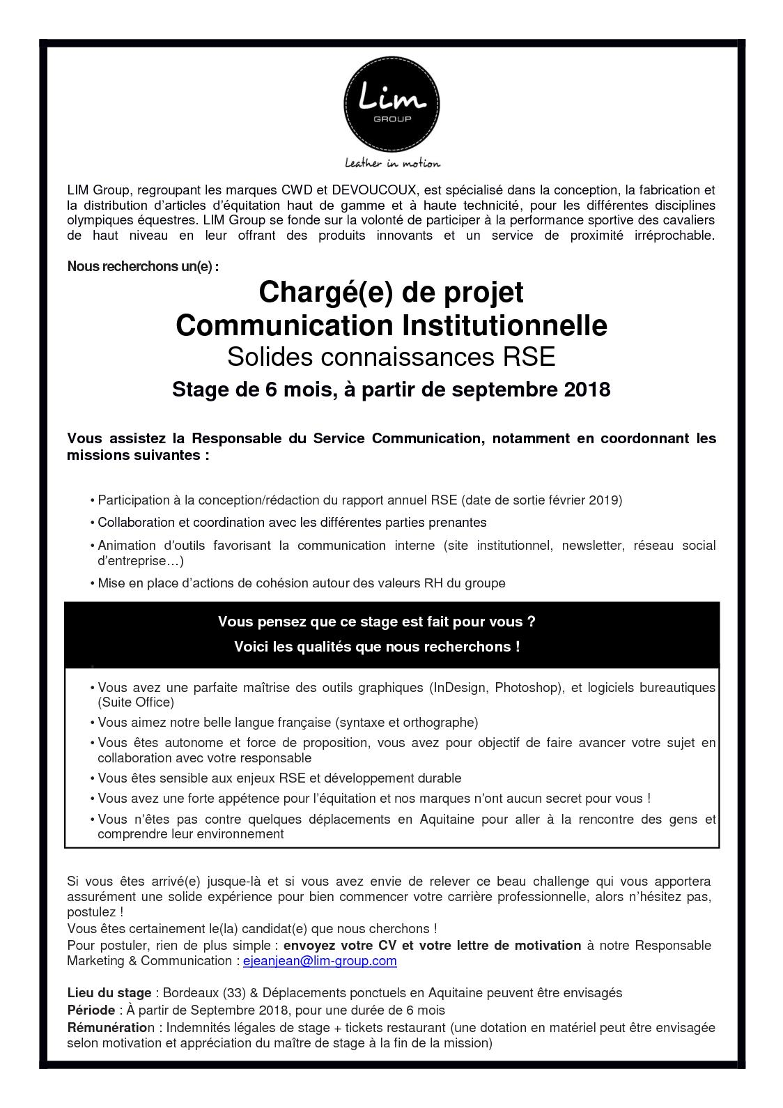 Calaméo Offre Stage Communication Institutionnelle Rse Lim