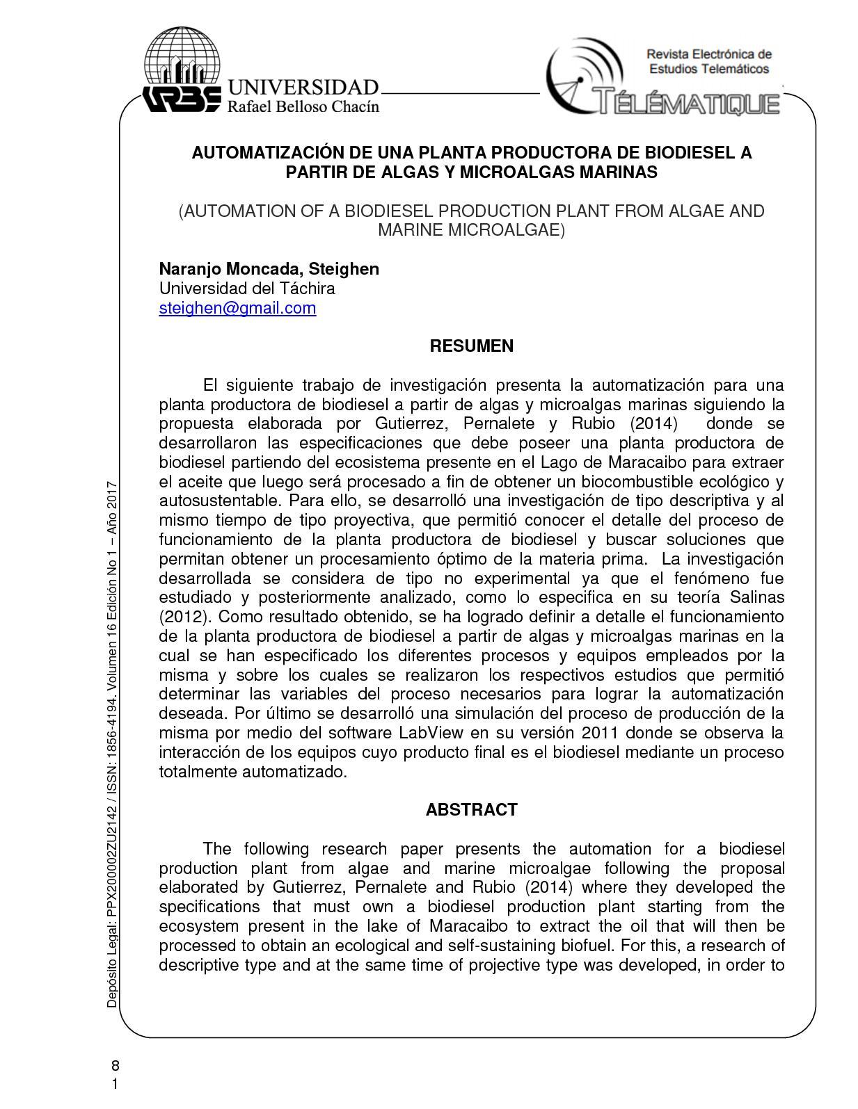 AUTOMATIZACIÓN DE UNA PLANTA PRODUCTORA DE BIODIESEL A PARTIR DE ALGAS Y MICROALGAS MARINAS