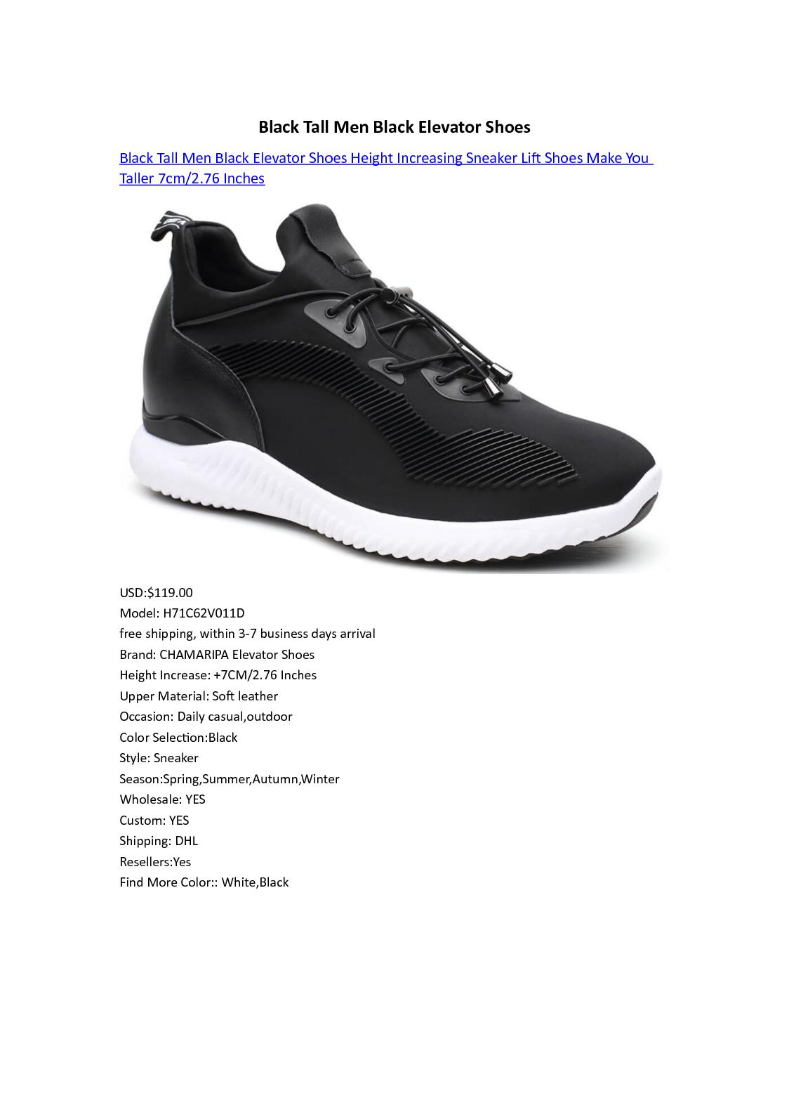 Black Tall Men Black Elevator Shoes