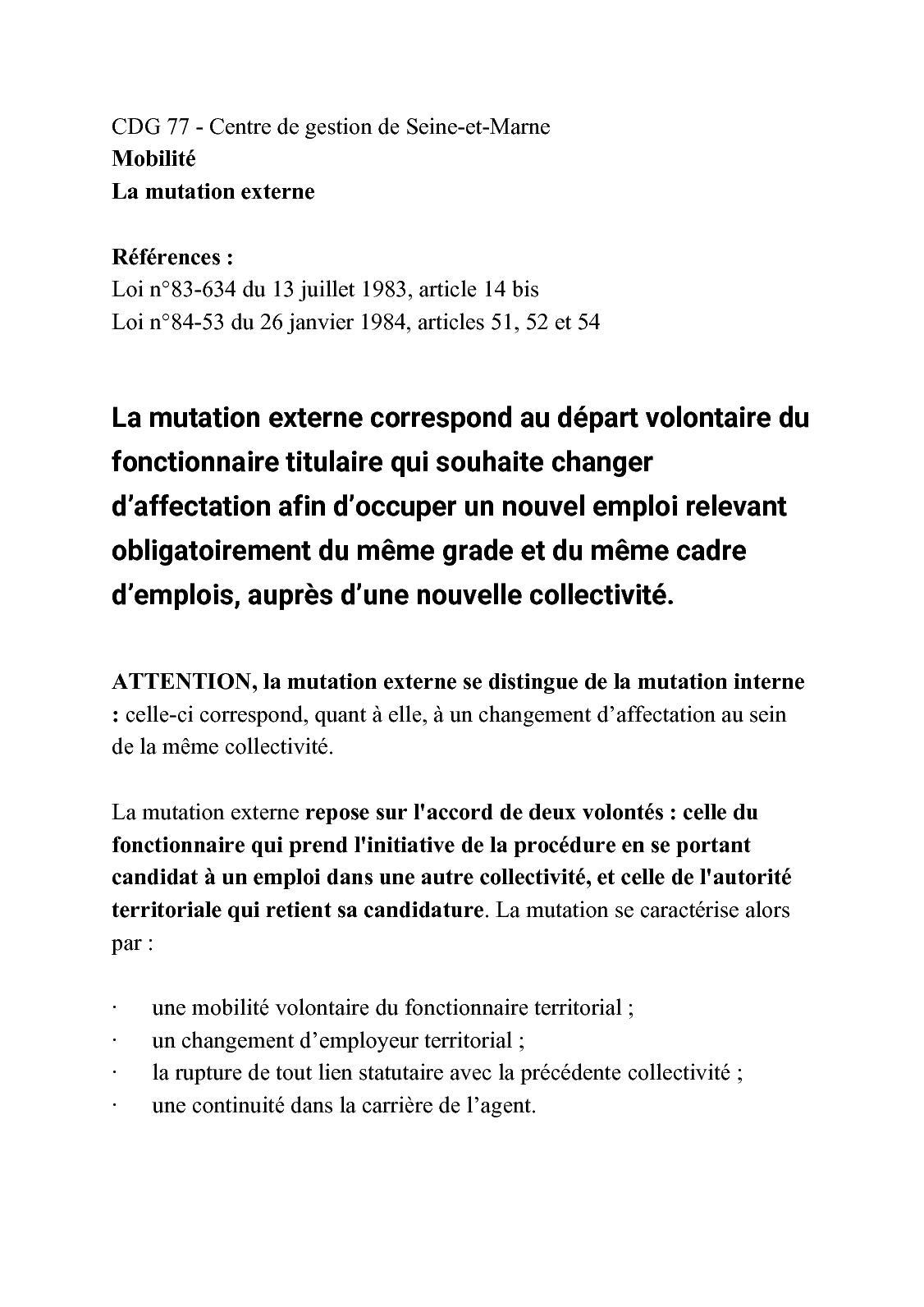 b6338ad9e34 Calaméo - Mutation Externe Fiche Cdg 77 Centre De Gestion De Seine Et Marne