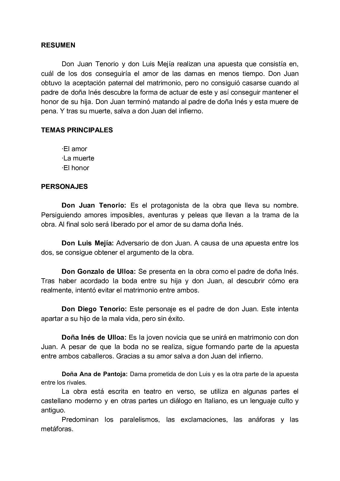 Resume de don juan tenorio jstor collected essays