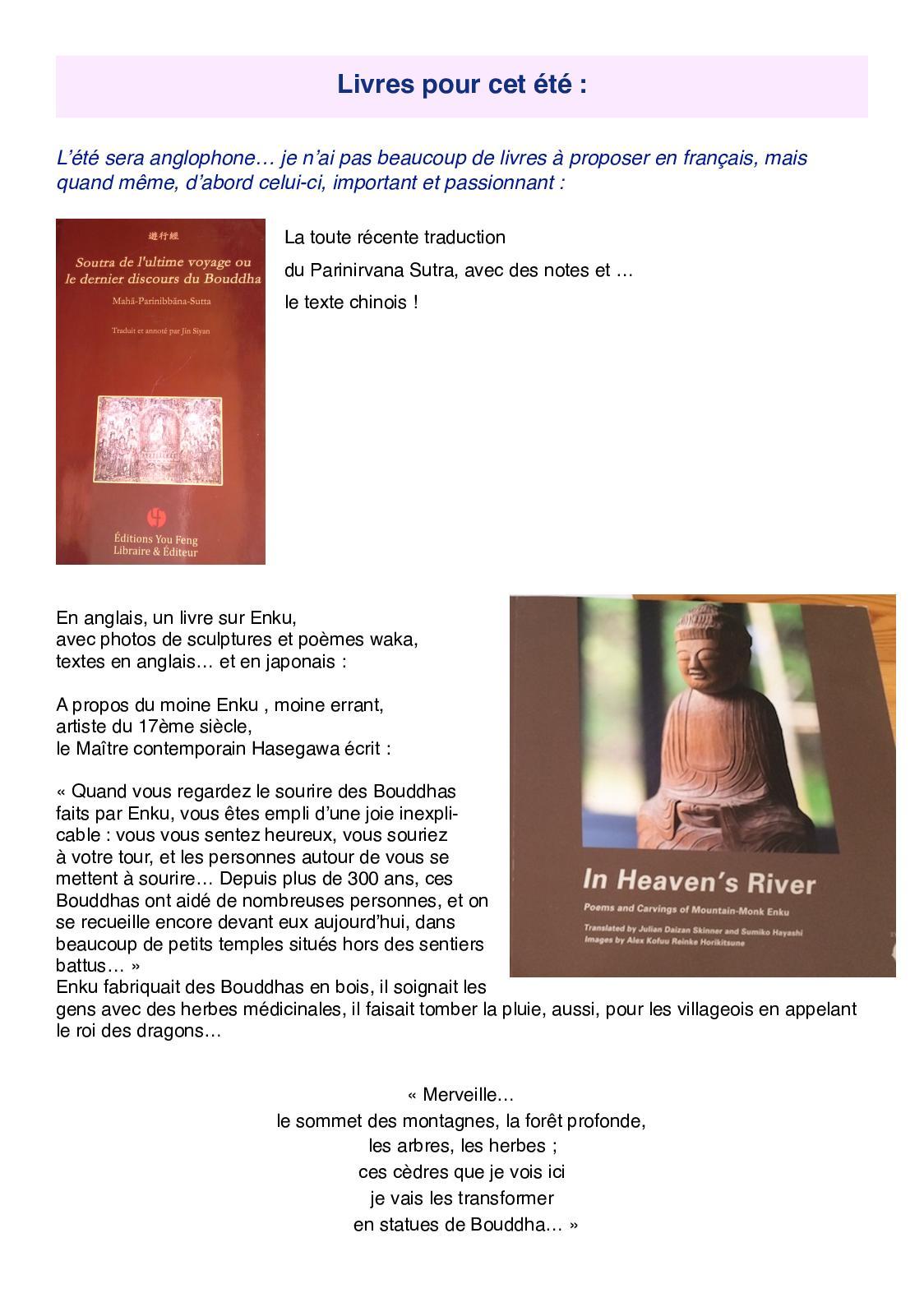 Calameo Daishin 241 Quelques Livres Pour L Ete