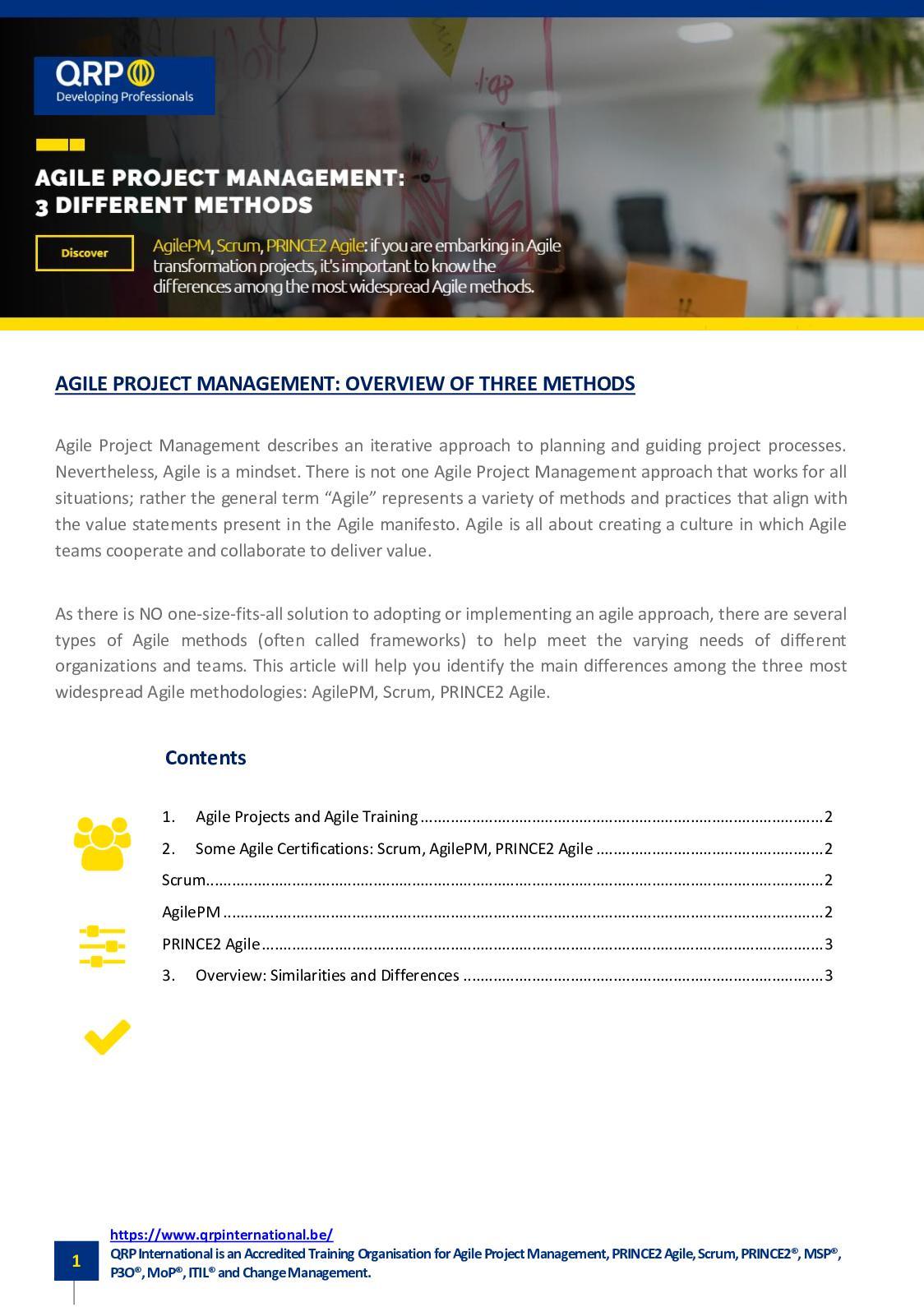 Agile Scrum Project Management Certification calaméo - overview of 3 agile project management training
