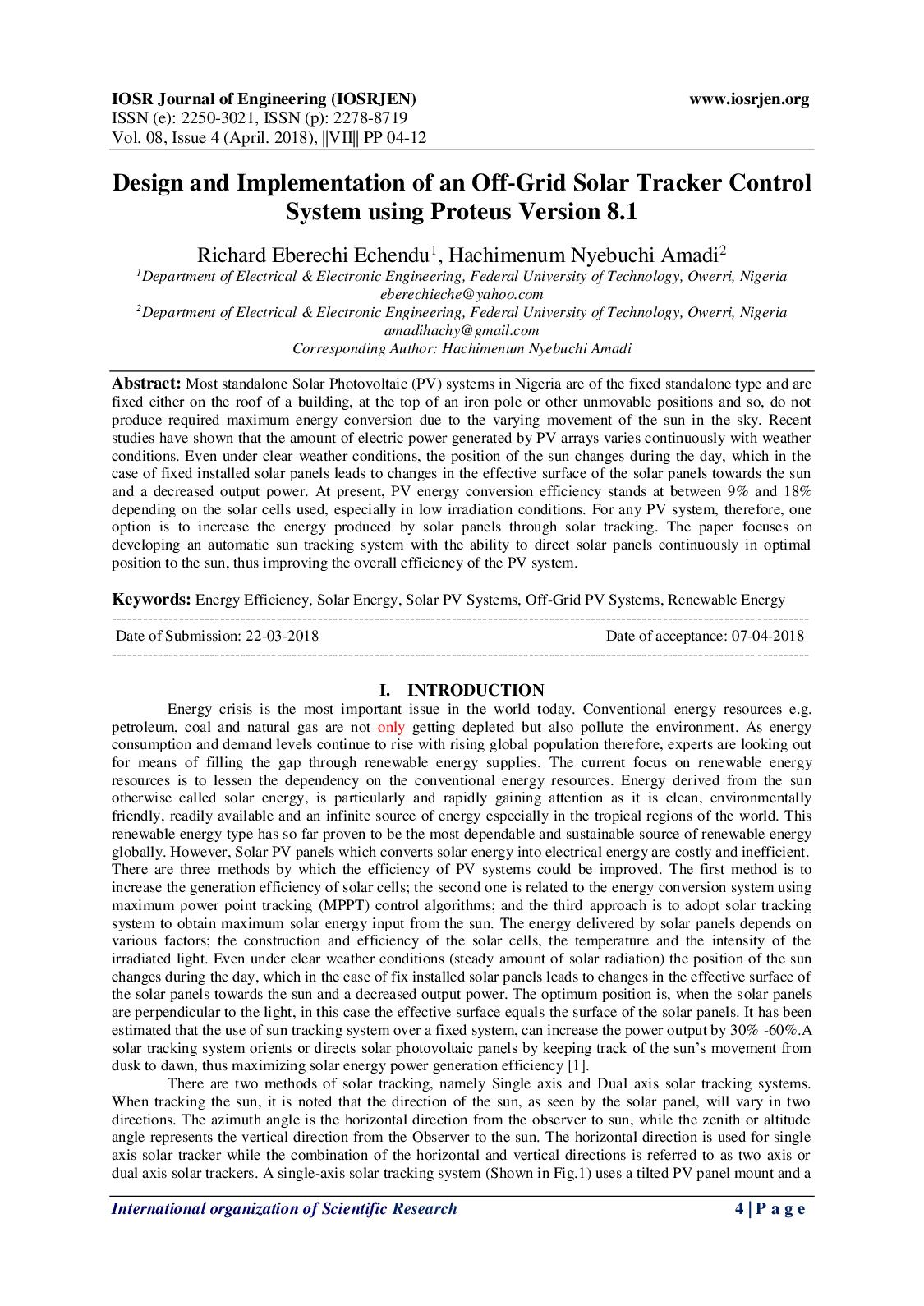 Calameo Design And Implementation Of An Off Grid Solar Tracker Control System Using Proteus 8 1