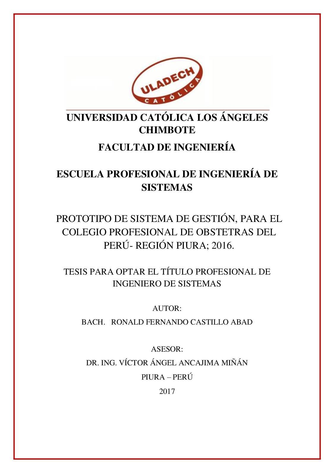 Calidad Del Servicio Colegio De Obstetras Del Peru Regional Piura Castillo Abad Ronald Fernando