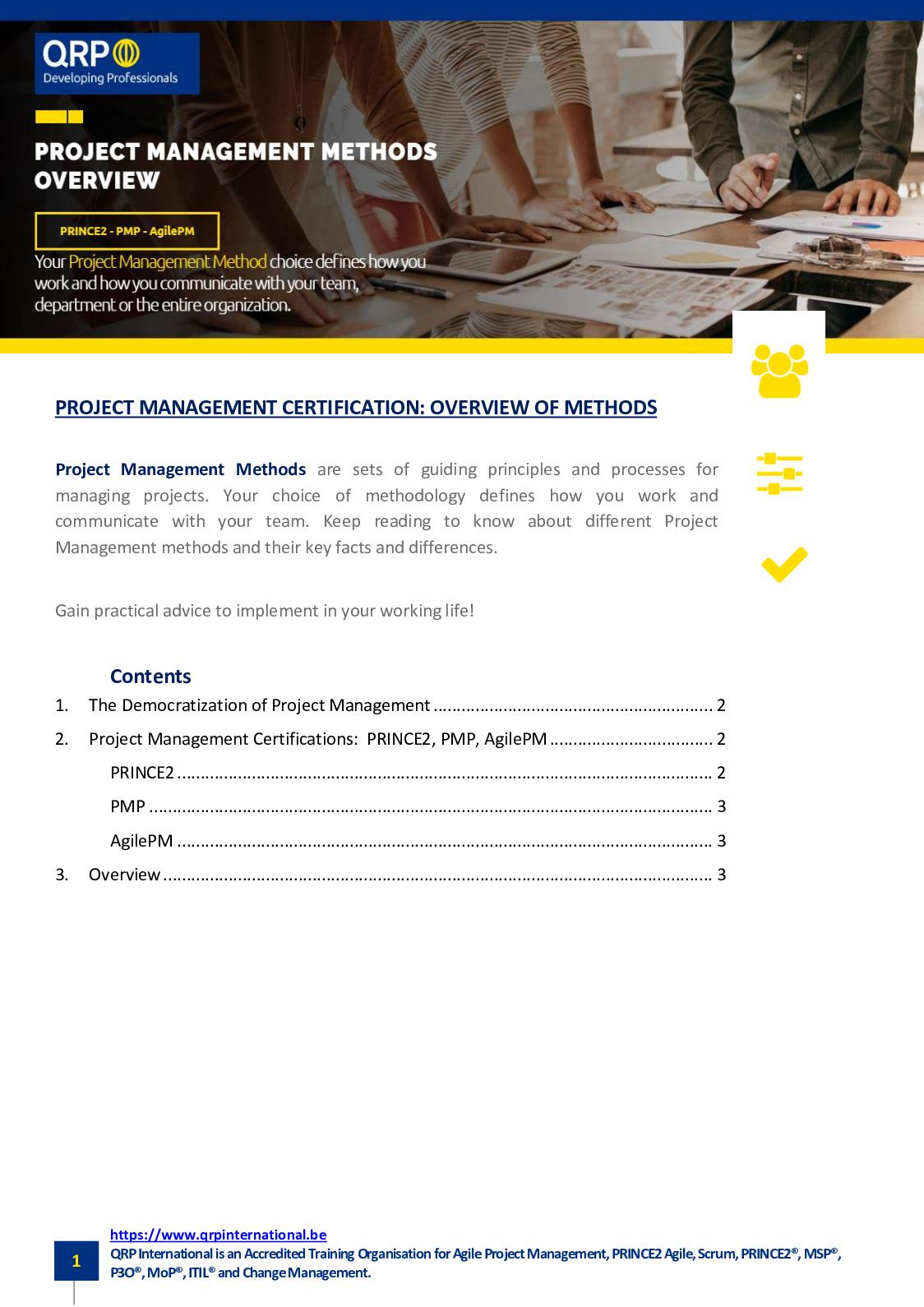 Agile Scrum Project Management Certification calaméo - overview of 3 project management methods and