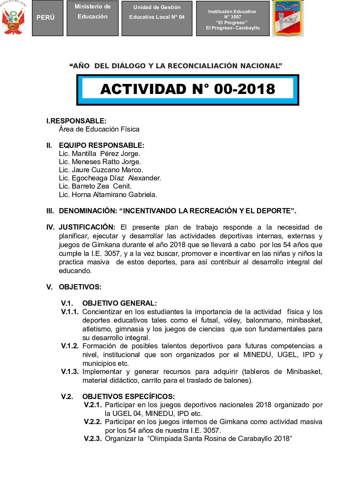 Comisión De Deporte 2018 Plan De Trabajo