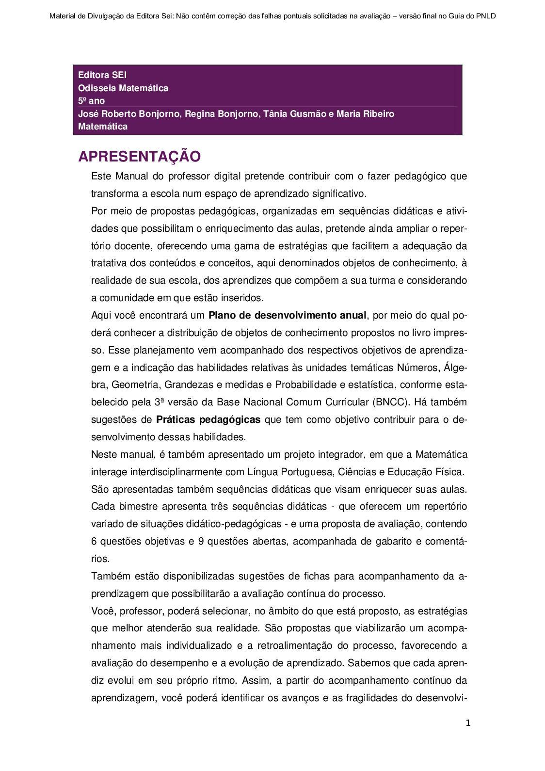 Calaméo - Material Digital  Odisseia - Matemática 5º ano dc17665b08f30
