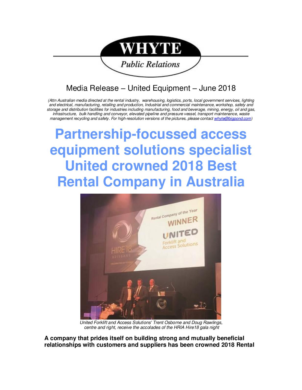 Calaméo - Rental Company Of The Year United Equipment 2018
