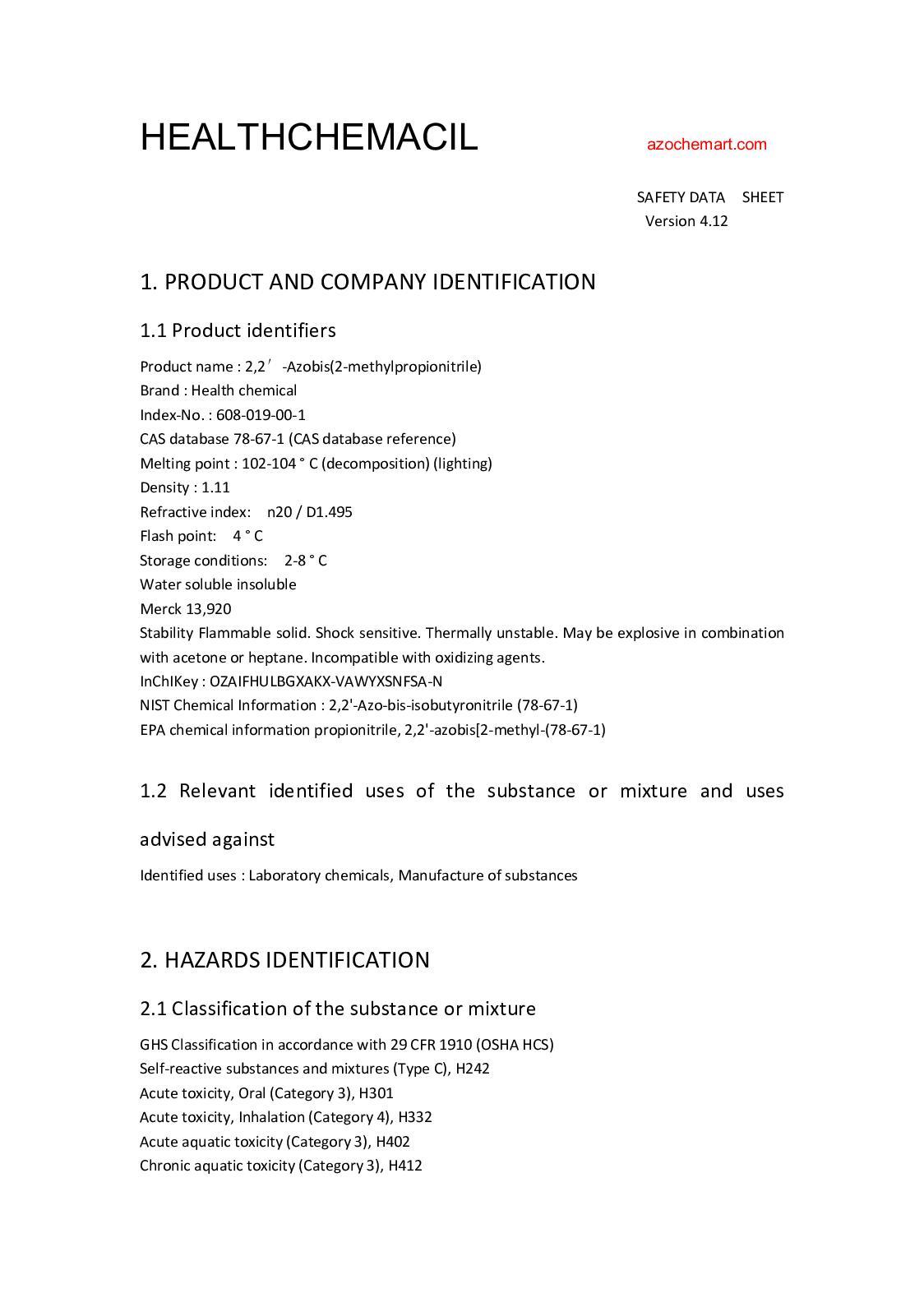 Calaméo - Aibn Safety Data Sheet
