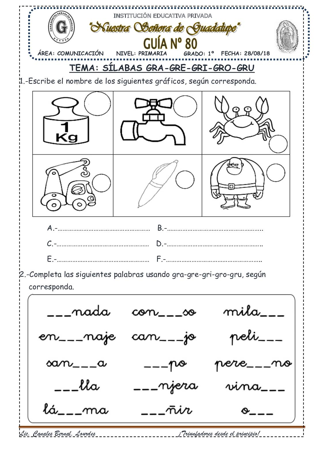 Try These Palabras Que Empiecen Con La Sílaba Gru