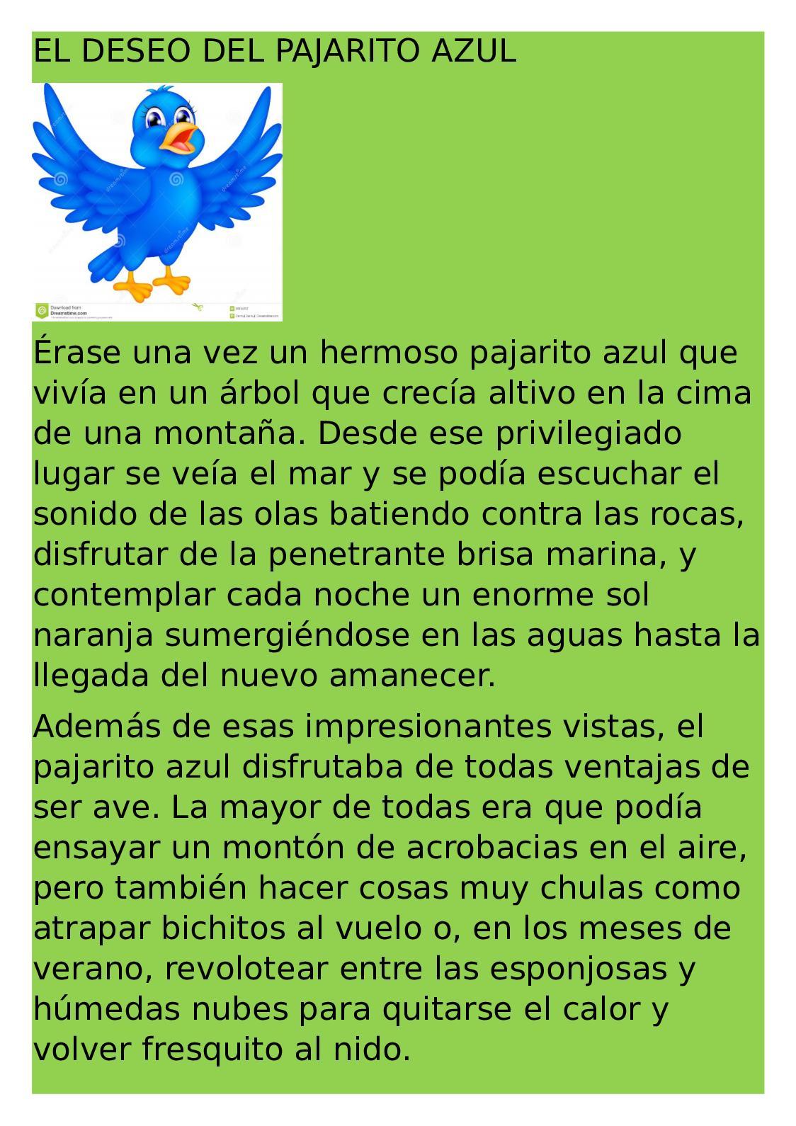 Calaméo - Cuento El Deseo Del Pajarito Azul