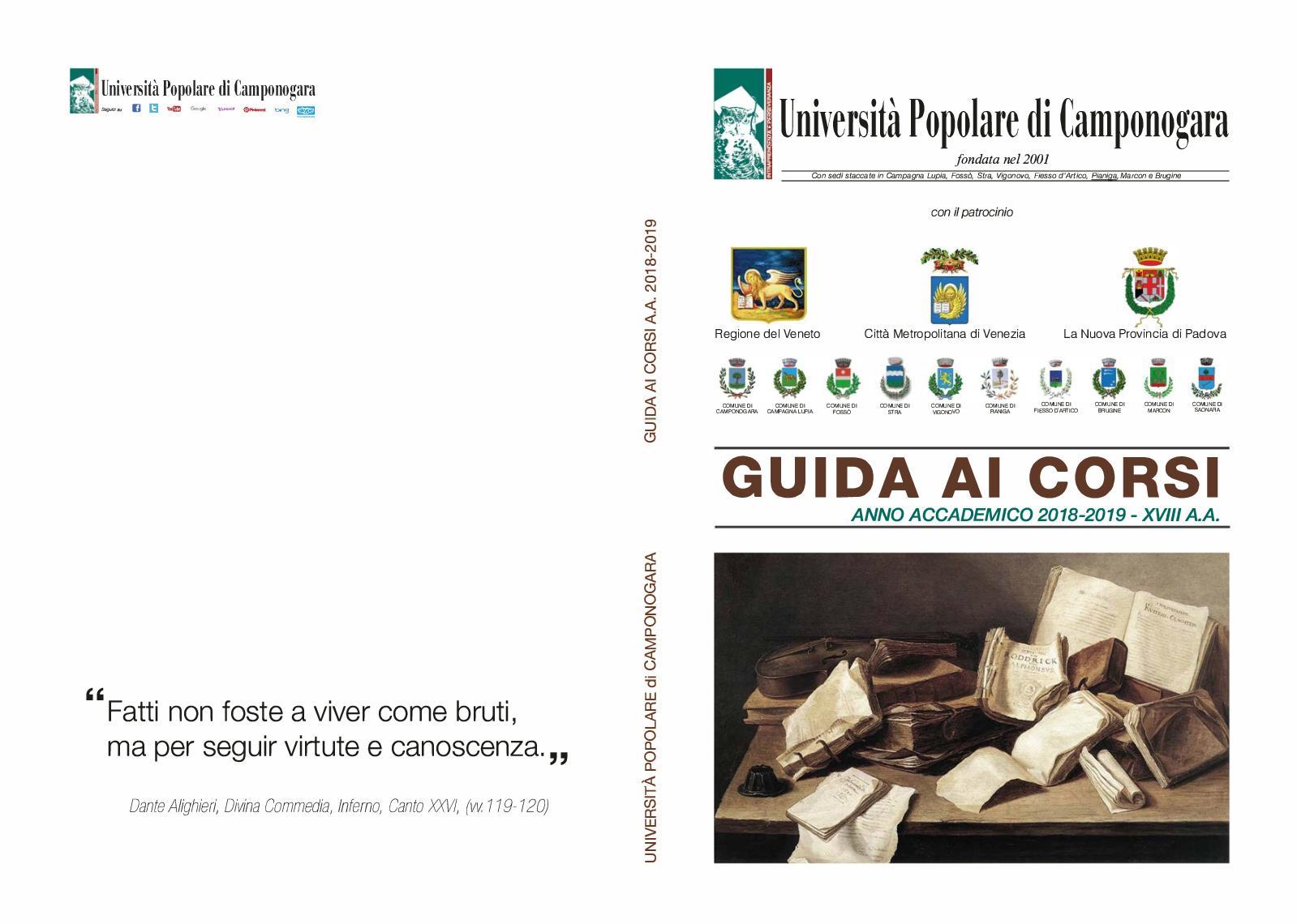 Calaméo Uni Pop Camponogara Guida Corsi Completa 2018 2019