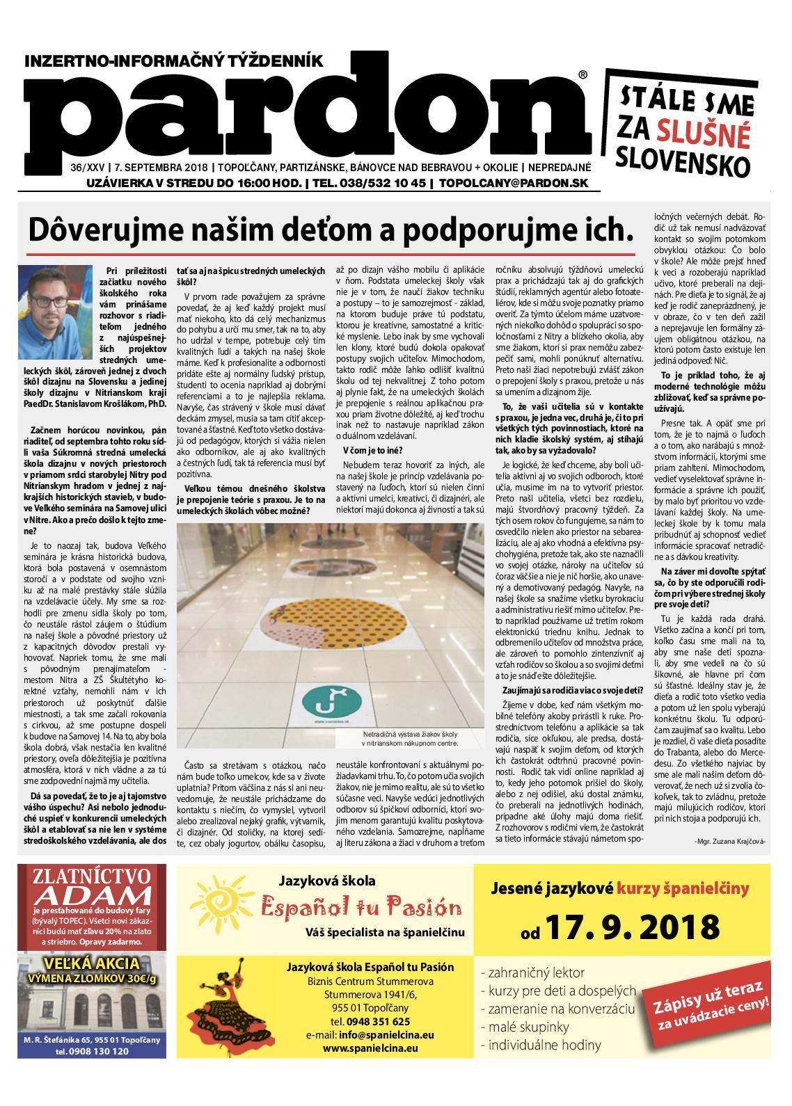 27a317a70341 Calaméo - Pardon Topoľčany 36 2018
