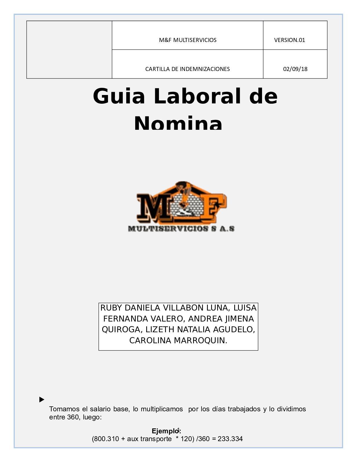 Cartilla Nomina