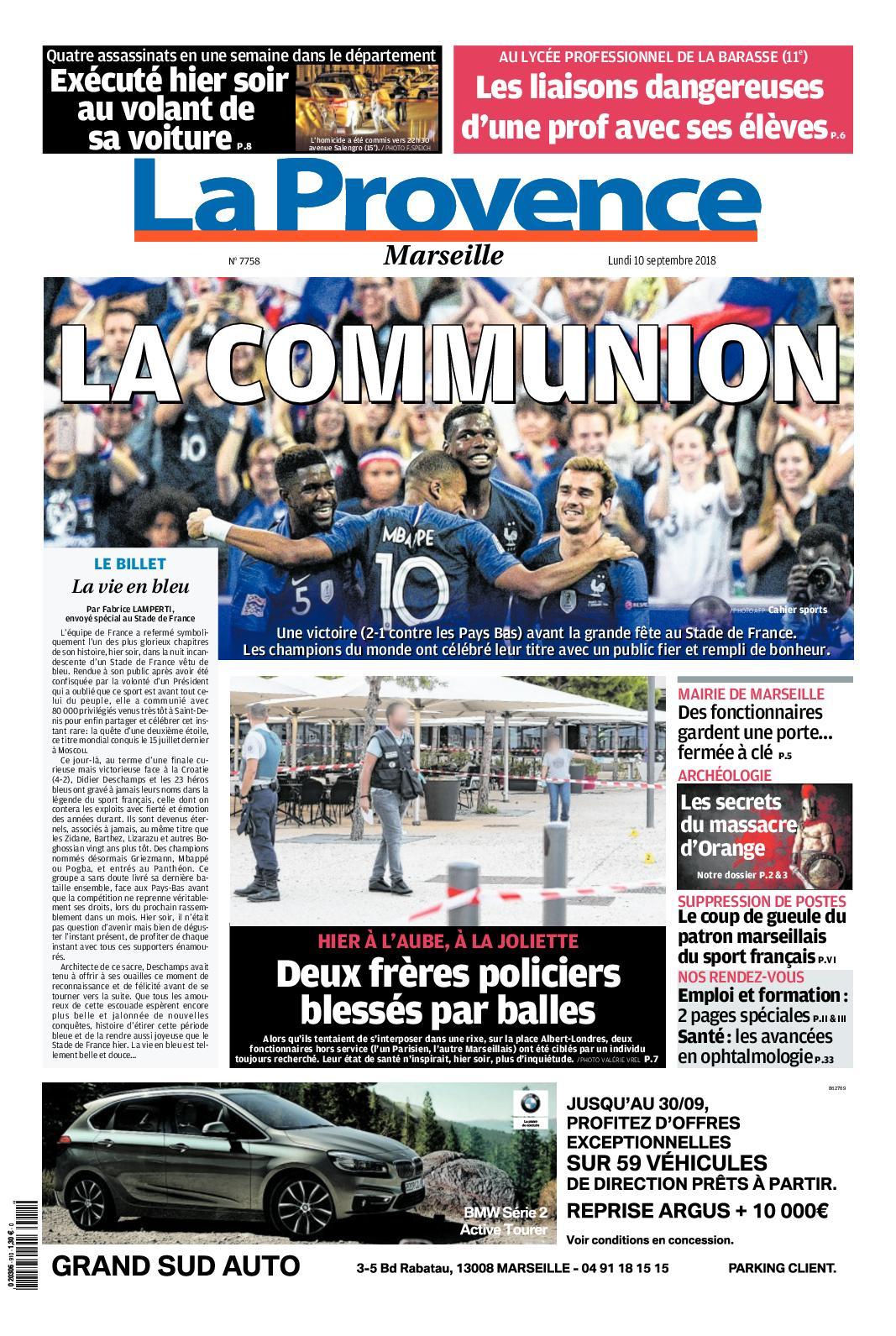 bcde6be48d05c Calaméo - La Provence Edition De Marseille 10 09 2018