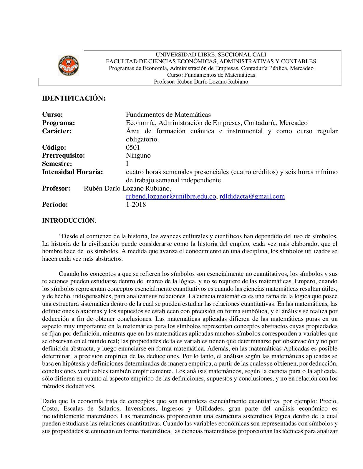 Calaméo Plan Fundamentos De Matemáticas Universidad Libre