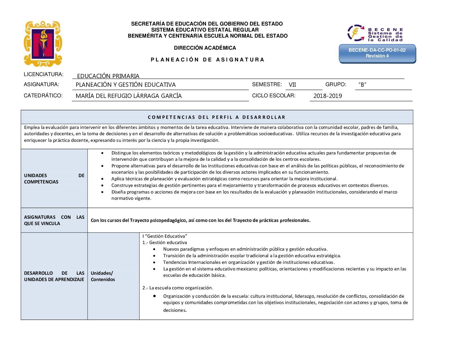 Planeacion 2018 Gestión Educativa