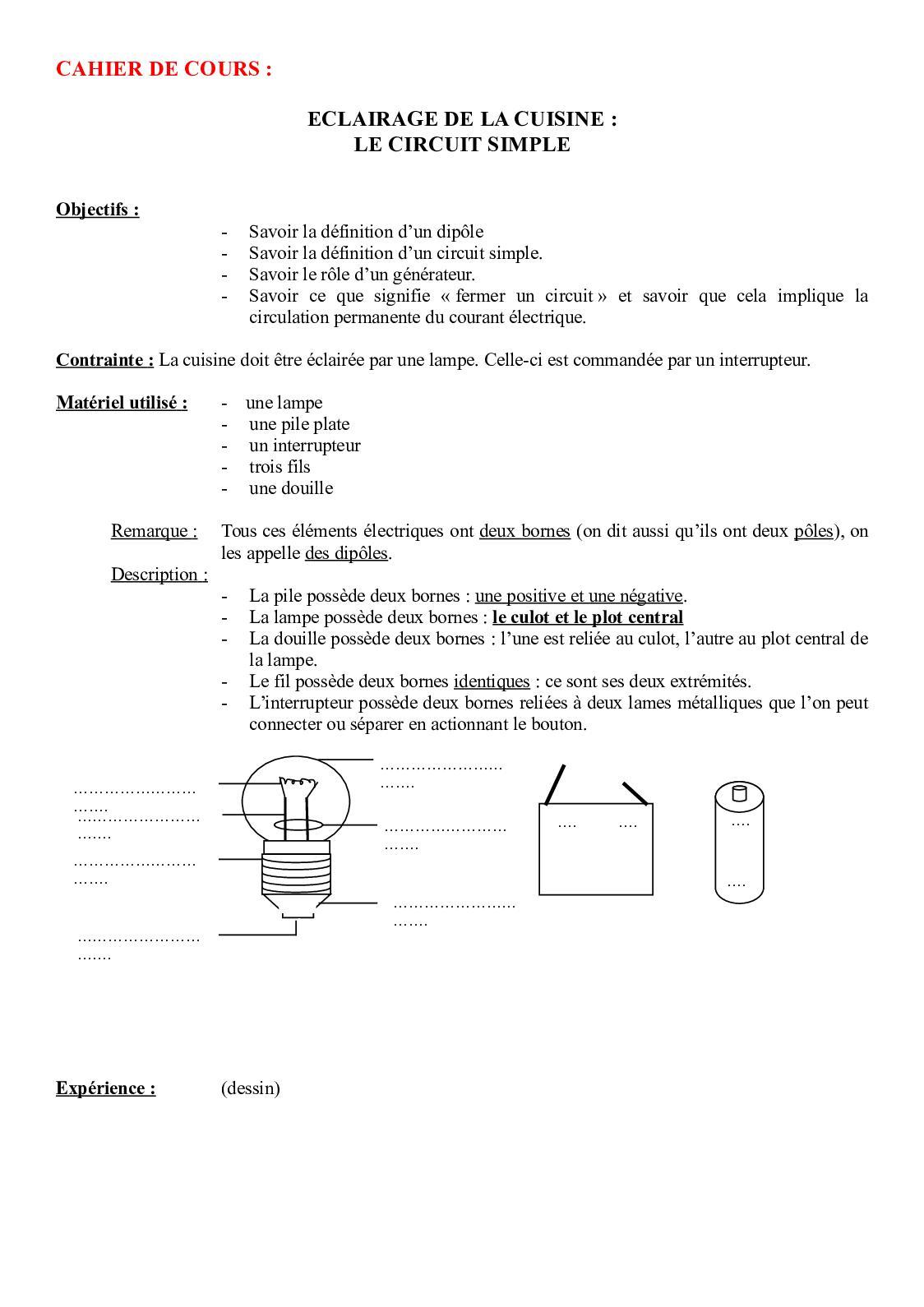 Calameo Eclairage De La Cuisine Circuit Simple Eleve