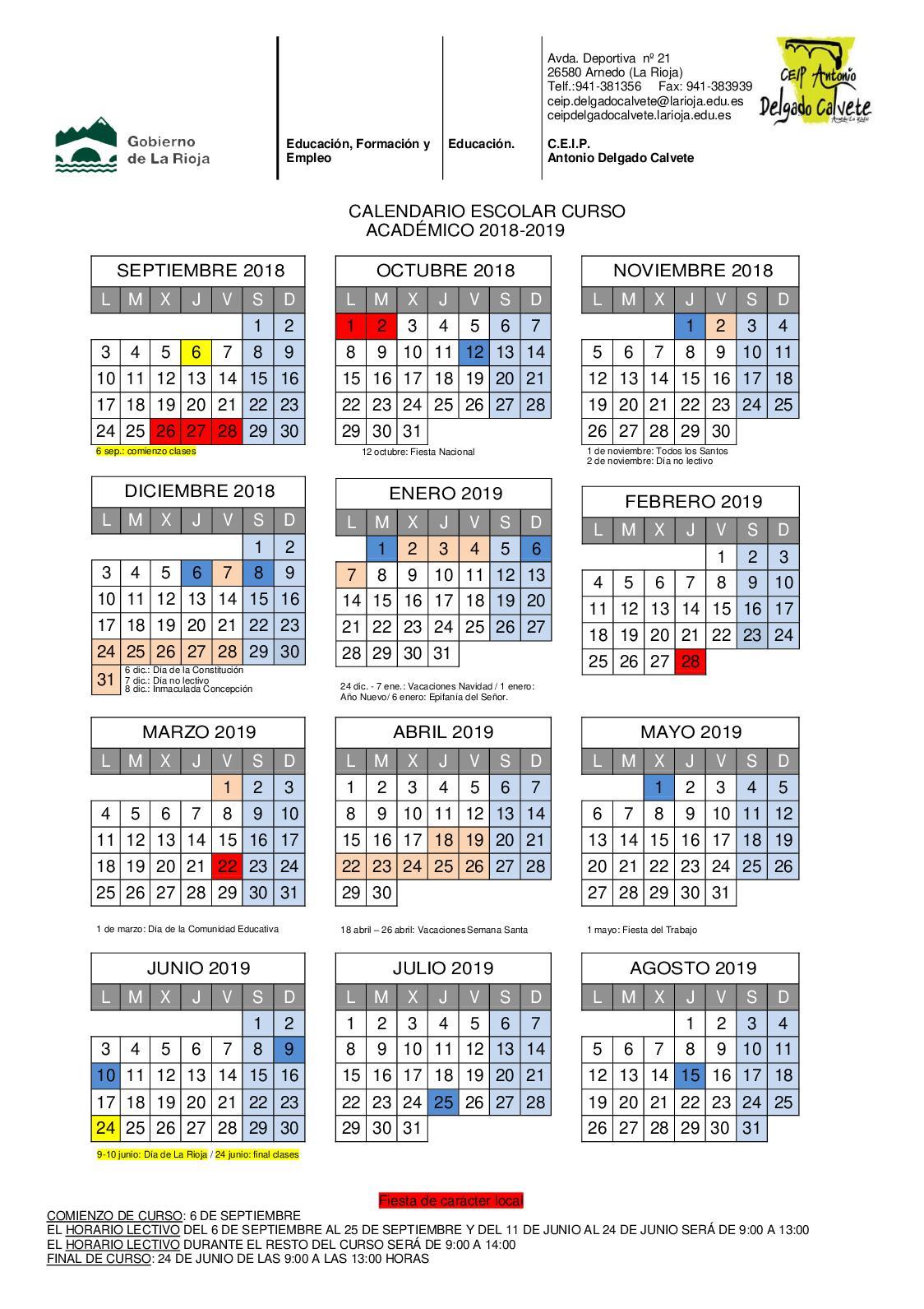 Calendario Escolar 1819.Calameo Calendario Escolar 2018 2019 Ceip Calvete