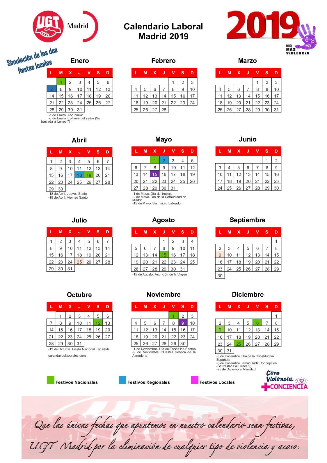 Calendario Laboral Espana 2019.Calameo Calendario Laboral 2019 Municipio De Madrid