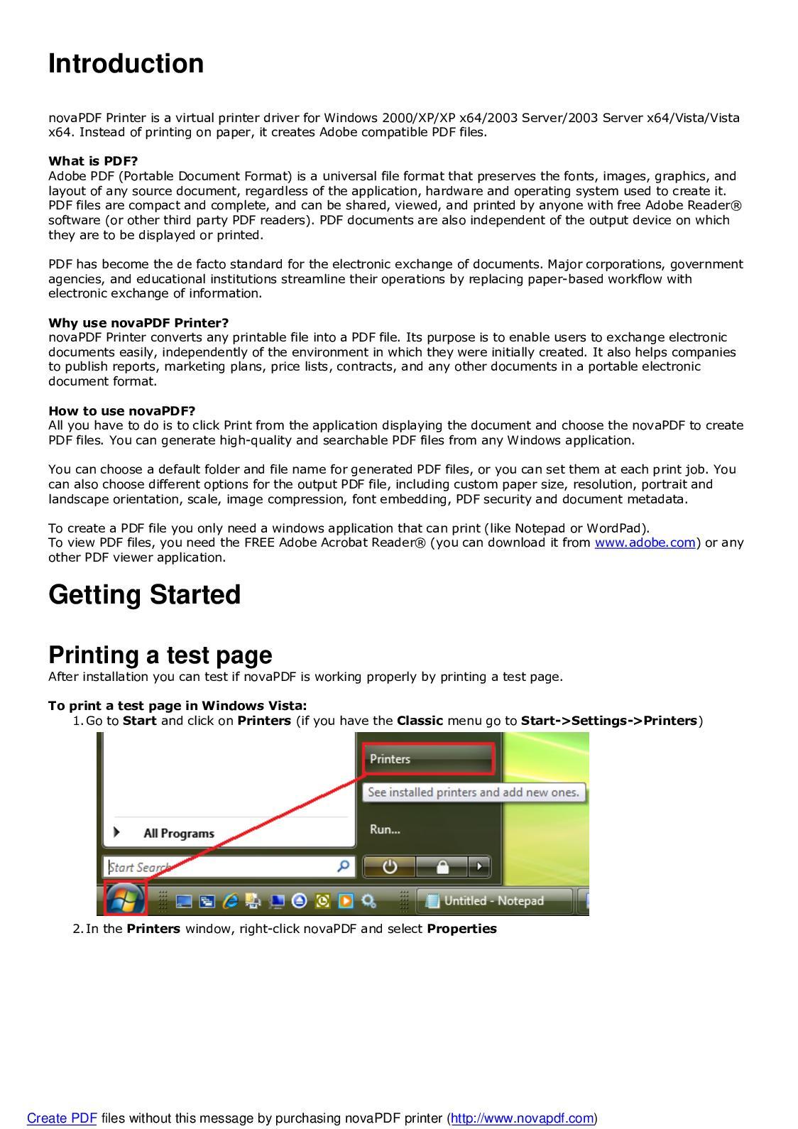 pdf printer driver win xp