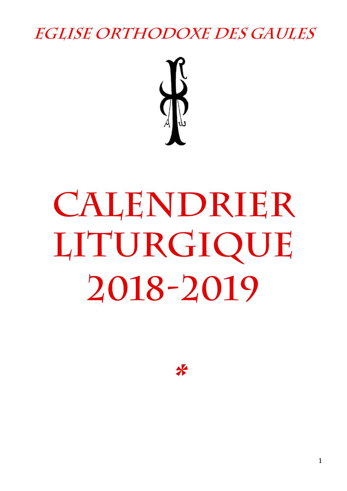 Calendrier Paul Valery.Calameo Calendrier Eglise Orthodoxe Gaules 2018 2019