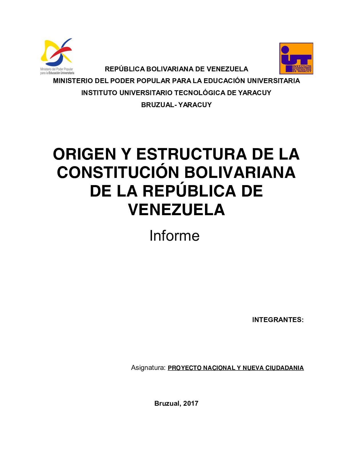 Calaméo Origen Y Estructura De La Constitución Bolivariana