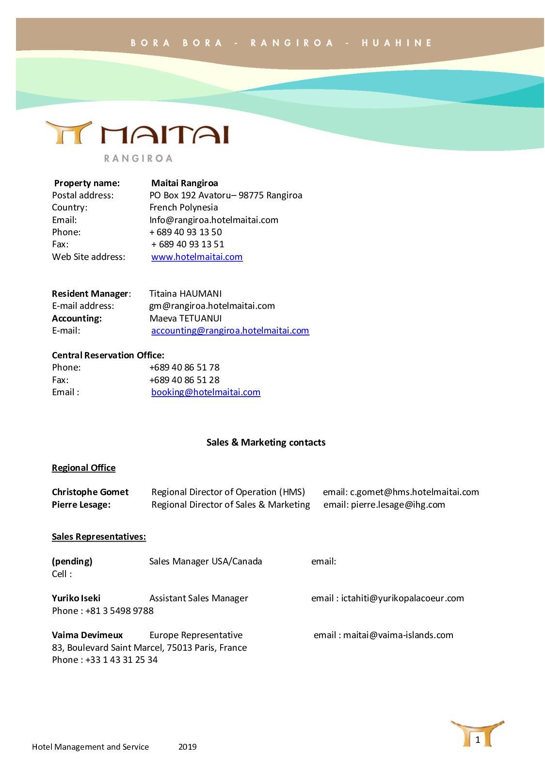 Calaméo - MAITAI RANGIROA Fact Sheet 2019 ENG