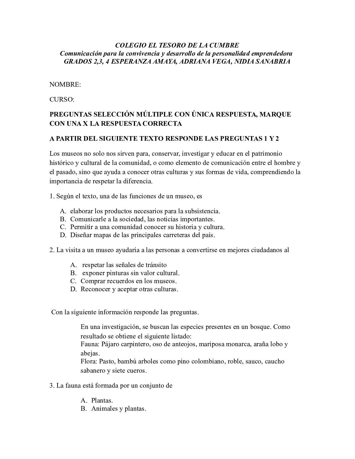 Calameo Pruebas Examen Grado Tercero 2018