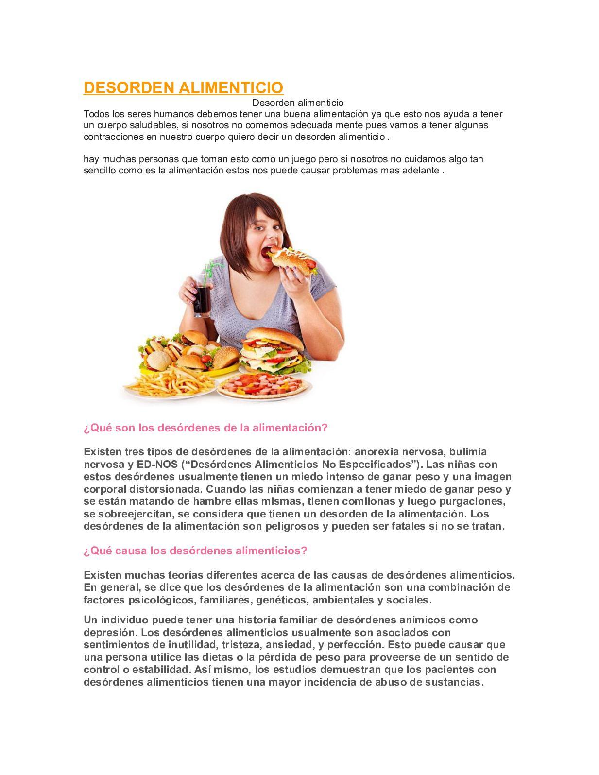 que causa los desordenes alimenticios