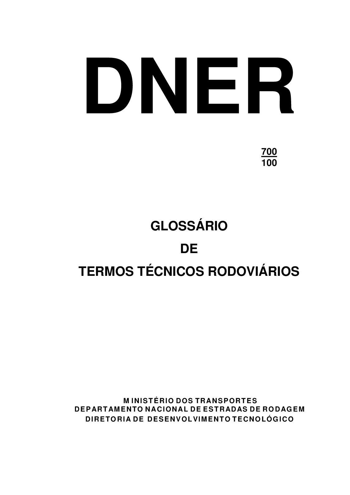Calaméo - Livro Dner Glossário Termos Técnicos Rodoviários 2018