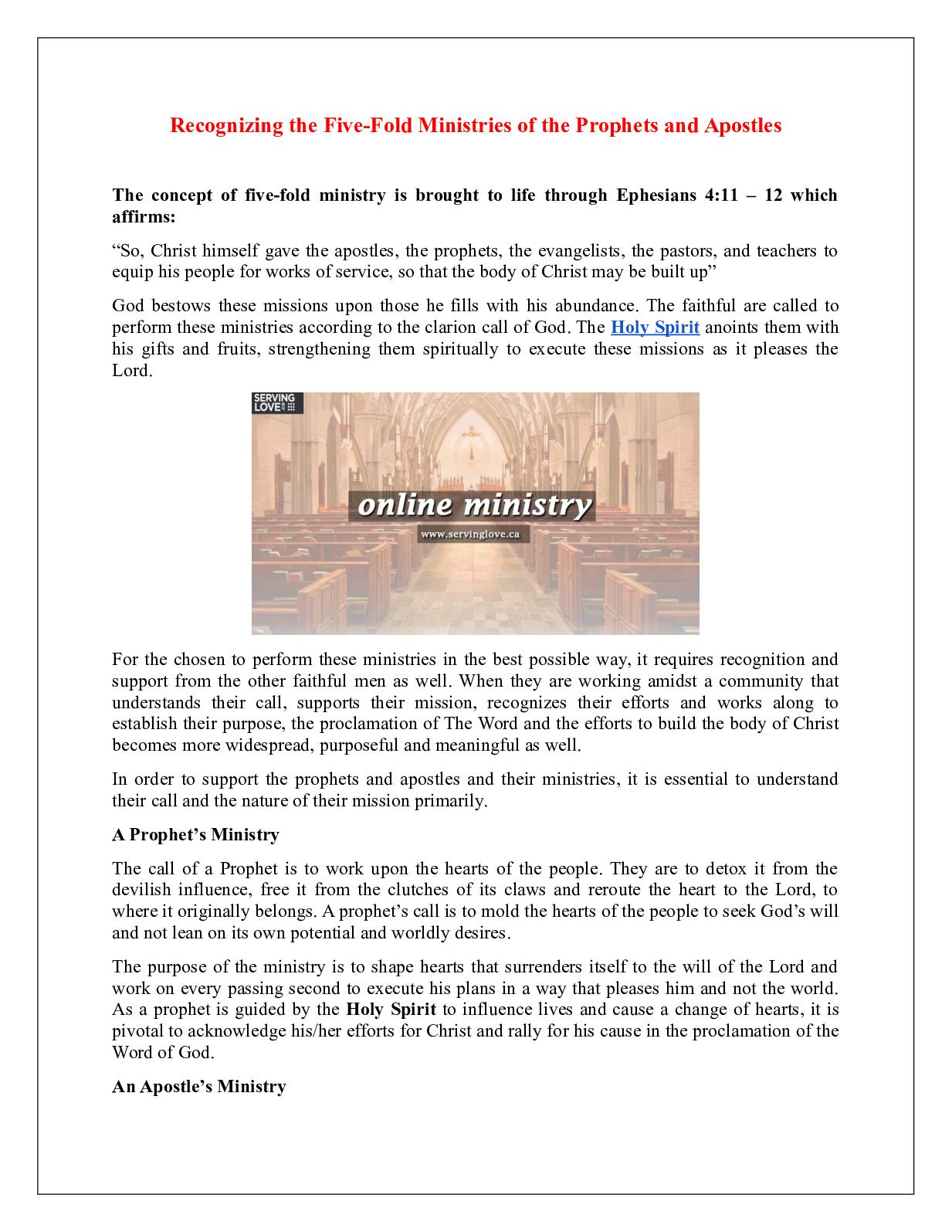 Calaméo - Recognizing the Five Fold Ministries of the