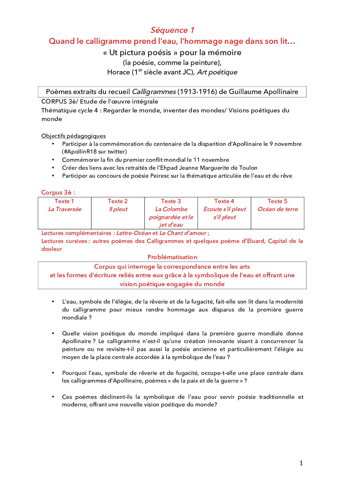 Calaméo Sequence Denseignement Sur Apollinaire